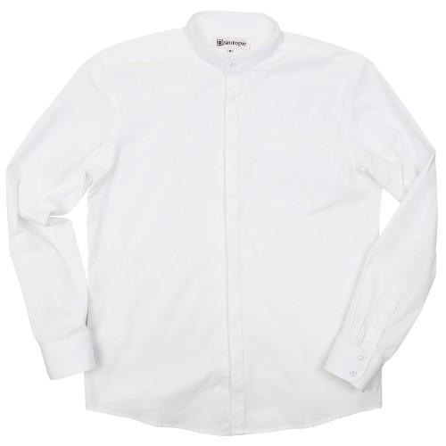 Chemise col mao boutonné en popeline de coton