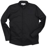 Poplin cotton shirt with buttoned Mandarin collar