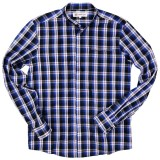 Cotton plaid shirt with buttoned Mandarin collar