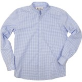 Gingham men's cotton shirt with Officer collar