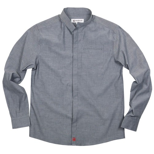 Heathered cotton shirt with Officer collar