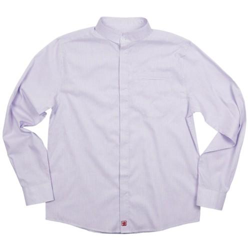 Chemise double col mao à fines rayures en coton