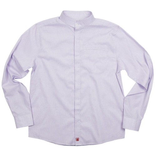 Cotton pinstripe shirt with double Mandarin collar