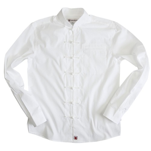 Poplin shirt with mandarin collar and Chinese closure