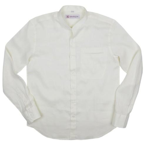Linen shirt with buttoned Mandarin collar