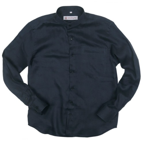 Linen shirt with buttoned Mandarin collar