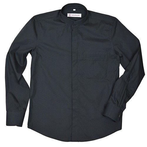Poplin cotton shirt with double Mandarin collar