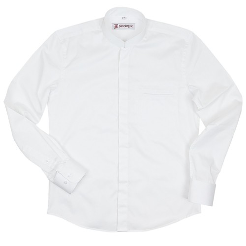 Poplin cotton shirt with Mandarin collar