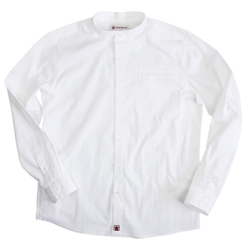 Poplin cotton shirt with buttoned Mandarin collar