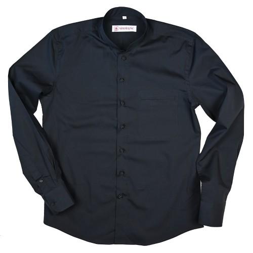 """East-West"" Poplin cotton shirt with Mandarin collar"