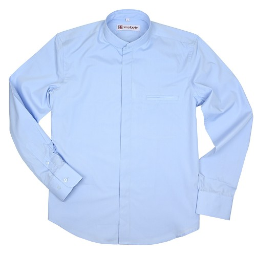 Poplin cotton shirt with double Mandarin collar
