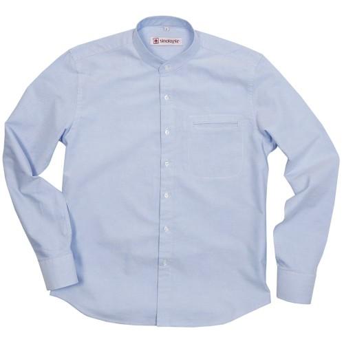 Oxford shirt with buttoned mandarin collar