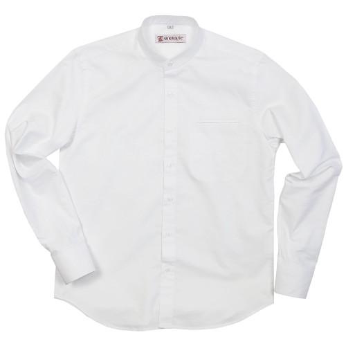 Chemise col Mao boutonné en coton oxford