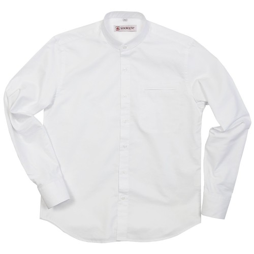 Oxford shirt with buttoned mandarin collar