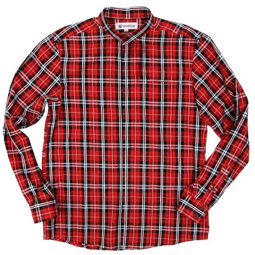 Chemise col mao boutonné à carreaux en coton